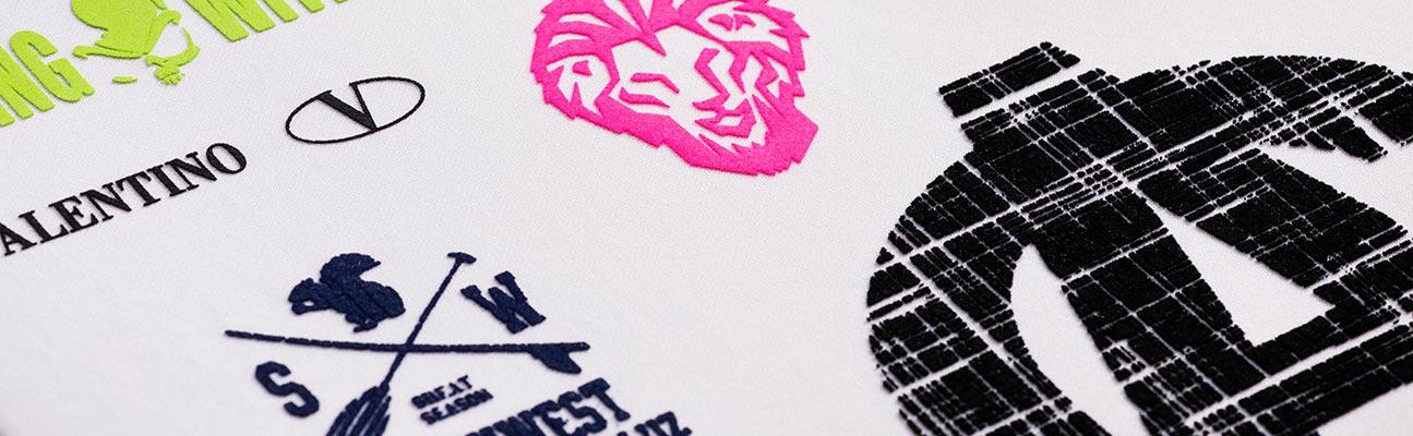 transfer adhesivo aterciopelado flock logos